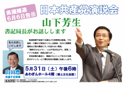2014.5.31山下芳生演説会ビラ カラー